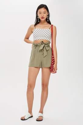 Topshop Womens Linen Button Paperbag Shorts - Khaki