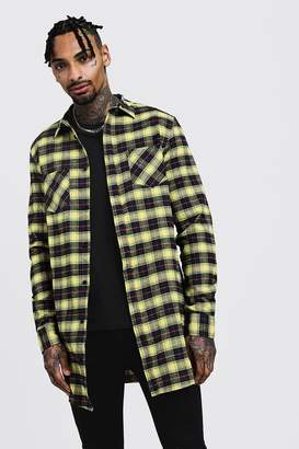 boohoo Long Sleeve Yellow Check Longline Shirt
