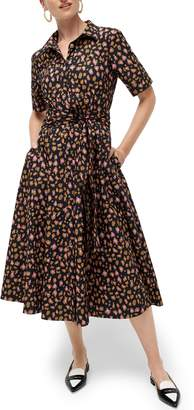 J.Crew Leopard Tie Waist Short Sleeve Dress