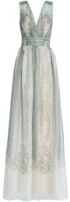 Alberta Ferretti Pleated Printed Silk-Organza Gown