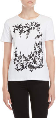 Karl Lagerfeld Paris Floral Embroidered Tee