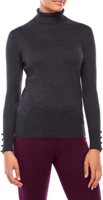 Cable & Gauge Button Cuff Turtleneck Sweater