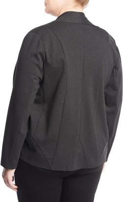 Neiman Marcus Knit Cascade-Front Cardigan, Plus Size