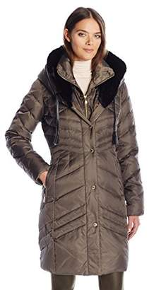 Via Spiga Women's Luxe Exaggerated Ff Fold Over Hood Puffer with Faux Leather Tassels