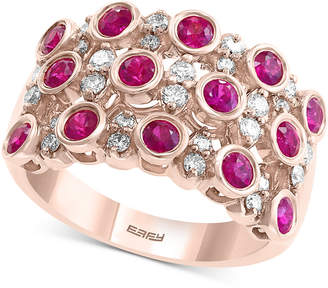 Effy Certified Ruby (1-1/8 ct. t.w.) and Diamond (3/8 ct. t.w.) Ring in 14K Rose Gold