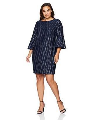 Jessica Howard Plus Size Womens Bell Sleeve Sheath Dress