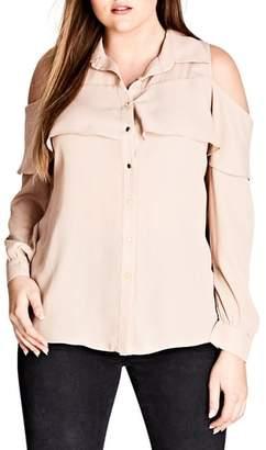 City Chic Frill Cold Shoulder Shirt