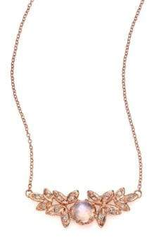 Jacquie Aiche Moonstone, Diamond& 14K Rose Gold Leaves Necklace