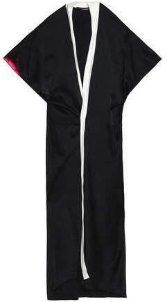Satin-Trimmed Crepe De Chine Maxi Dress