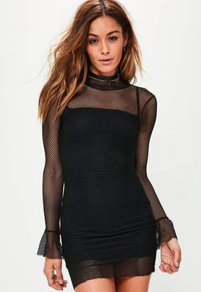 Missguided Black Mesh Flared Sleeve Bodycon Dress