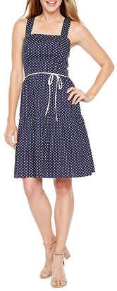R & K Originals Sleeveless Polka Dot Fit & Flare Dress