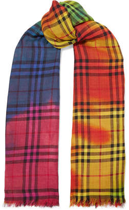 Burberry Tie-dyed Checked Wool And Silk-blend Gauze Scarf - Pink