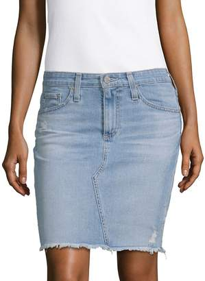 AG Adriano Goldschmied Women's Led Denim Pencil Skirt - Blue, Size 28 (4-6)