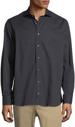 Luciano Barbera Solid Twill Sport Shirt