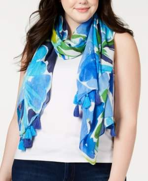 Echo Watercolor Floral Oblong Scarf