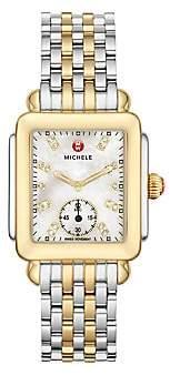 Michele Women's Deco Two-Tone Diamond Marker Rectangular Bracelet Watch