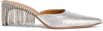 Area Crystal Fringe Kitten Heel in Silver | FWRD