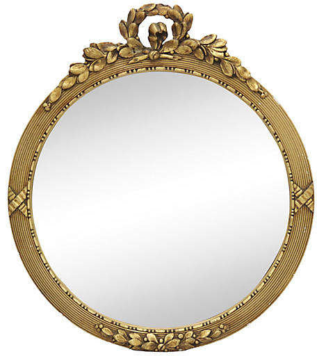 One Kings Lane Vintage Antique French Gilded Convex Wall Mirror - Rose Victoria