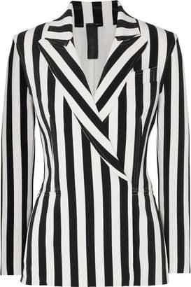 Norma Kamali Double-breasted Striped Stretch-jersey Blazer - Black