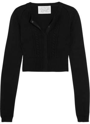 Victor Glemaud - Cropped Open-back Cotton And Cashmere-blend Cardigan - Black