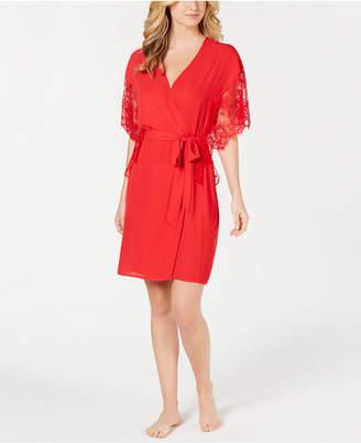 INC International Concepts I.n.c. Lace-Sleeve Chiffon Wrap Robe