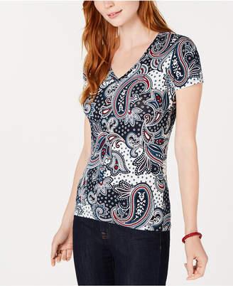 Tommy Hilfiger Paisley-Print V-Neck T-Shirt