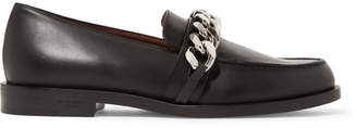 Givenchy Chain-trimmed Leather Loafers - Black