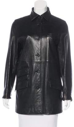 Façonnable Leather Collared Jacket