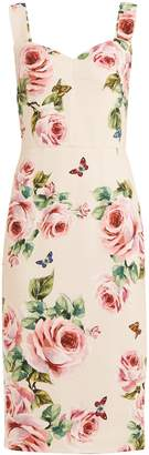 Dolce & Gabbana Sweetheart-neckline rose-print crepe dress