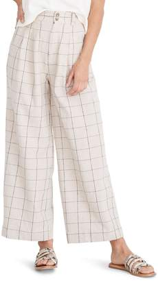Madewell Windowpane Pleated Wide Leg Pants