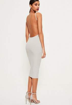 Missguided Gray Square Neck Ribbed Open Back Midi Dress