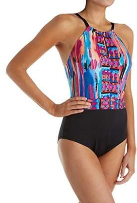 Jantzen Women's Brush Strokes High Neck One Piece Swimsuit