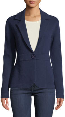 Neiman Marcus Cashmere One-Button Blazer, Navy