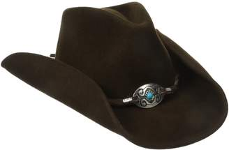 Scala Women's Wool Felt Pinched Western Hat with Braided Leather Trim