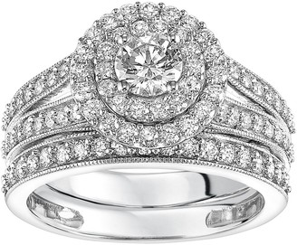 Vera Wang Simply Vera 14k White Gold 1 1/2 Carat T.W. Certified Diamond Double Halo Engagement Ring Set