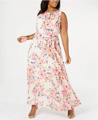 Jessica Howard Plus Size Floral Pleated Maxi Dress