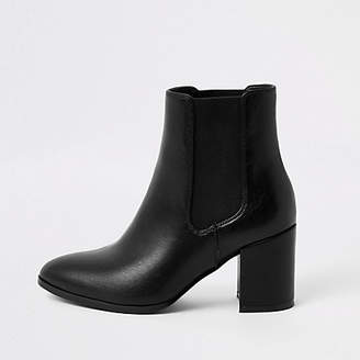 River Island Black pointed block heel boots