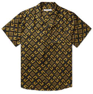 Givenchy Camp-Collar Logo-Print Silk-Twill Shirt - Men - Black