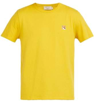 MAISON KITSUNÉ Logo Embroidered Cotton T Shirt - Mens - Yellow