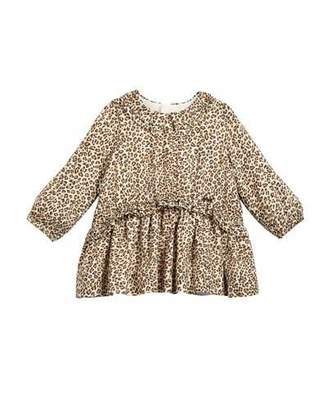 Mayoral Long-Sleeve Leopard-Print Dress, Size 6-36 Months