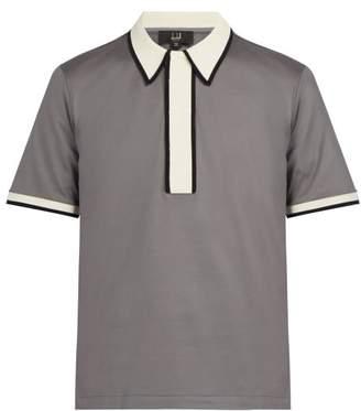Dunhill Contrast Trim Cotton Polo Shirt - Mens - Grey