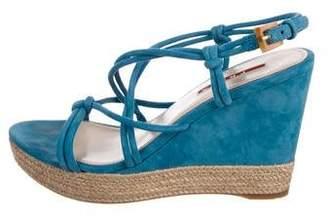 Prada Sport Suede Wedge Sandals