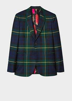 Men's Navy, Green And Yellow Tartan Wool Fully-Lined Blazer