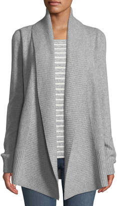 Neiman Marcus Cashmere Open-Front Duster Cardigan, Grey