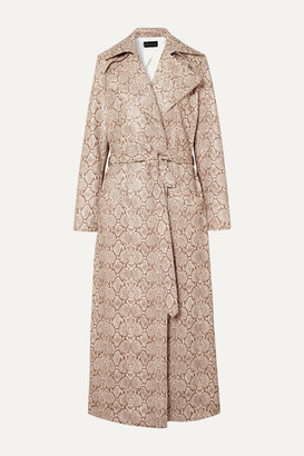 Michael Lo Sordo Snake-effect Faux Leather Trench Coat - Snake print
