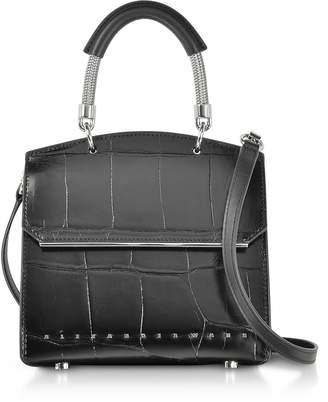 Alexander Wang Black Oversized Embossed Croco Leather Dime Mini Flap Satchel