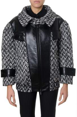 Miu Miu Wool Blend Bomber Jacket With Leather Inserts