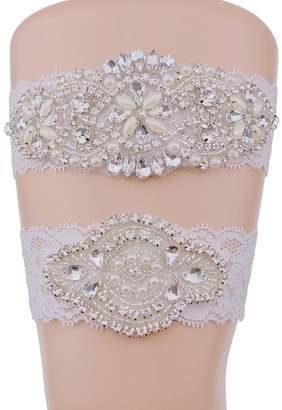 Keepsake Topwon Rhinestones Toss Wedding Bridal Garter Set