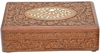 One Kings Lane Vintage Inlaid Bone & Carved Wood Box - Design Line