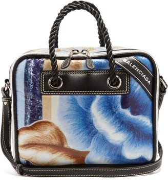 Blanket Square floral-print small leather bag